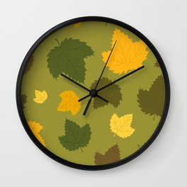 Autumn Hops Leaves on Green Wall Clock