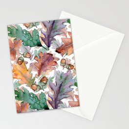 Colorful Watercolor Oak And Acorn Pattern Stationery Cards