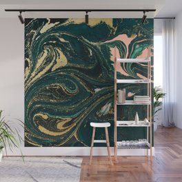 Abstract Pour Painting Liquid Marble Abstract Dark Green Painting Gold Accent Agate Stone Layers Wall Mural