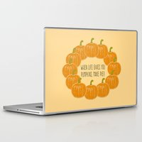 pie Laptop & iPad Skins featuring Pumpkin Pie by Laura Maria Designs