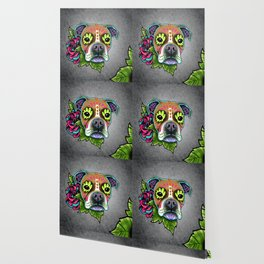Boxer in White Fawn - Day of the Dead Sugar Skull Dog Wallpaper