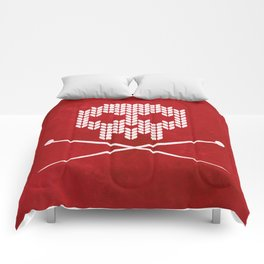Knitted Skull / Knitting with Attitude (white on red) Comforters
