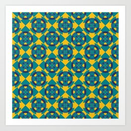 Simple geometric boat helm in blue and yellow Art Print