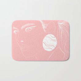Pastel Pink and White Girl Fashion Art Minimal Drawing  Bath Mat