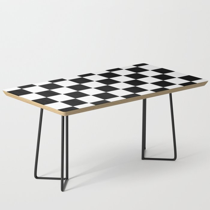 Checker Cross Squares Black & White Coffee Table