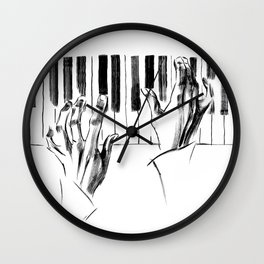 hands of a pianist playing music on the piano Wall Clock