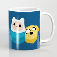 finn and jake Mugs featuring  Finn and Jake by Mayying