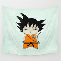 goku Wall Tapestries featuring A Boy - Goku by Christophe Chiozzi