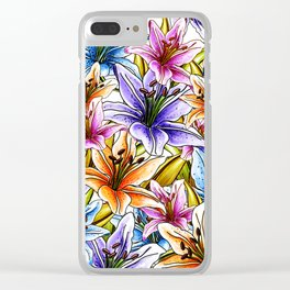 Stargazer Lily Floral Clear iPhone Case