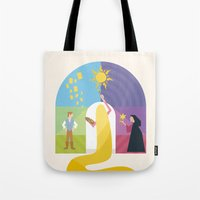 rapunzel Tote Bags featuring Rapunzel by Rob Yeo Design