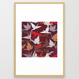 Japanese Origami paper cranes symbol of happiness, luck and longevity, sketch Framed Art Print