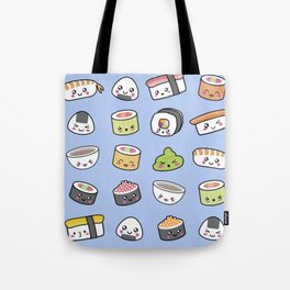 Happy kawaii sushi pattern Tote Bag