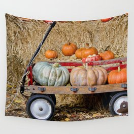 Wagon with Pumpkins Wall Tapestry