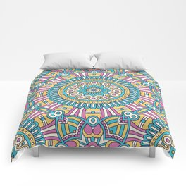 Pink Turquoise Pattern Comforters