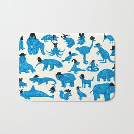 Blue Animals Black Hats Bath Mat
