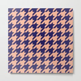 Houndstooth (Blue and Beige) Metal Print