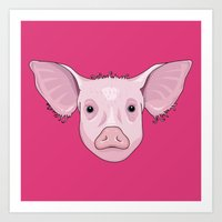 pig Art Prints featuring Pig by Compassion Collective