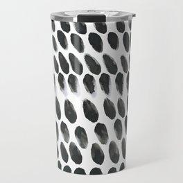Black and White Abstract Watercolor Polka Dot Brushtrokes Painting Travel Mug
