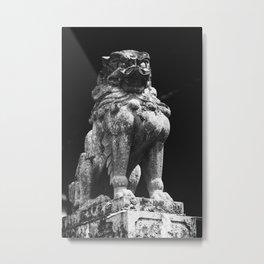 Japanese Lion Statue in sanctuary Metal Print