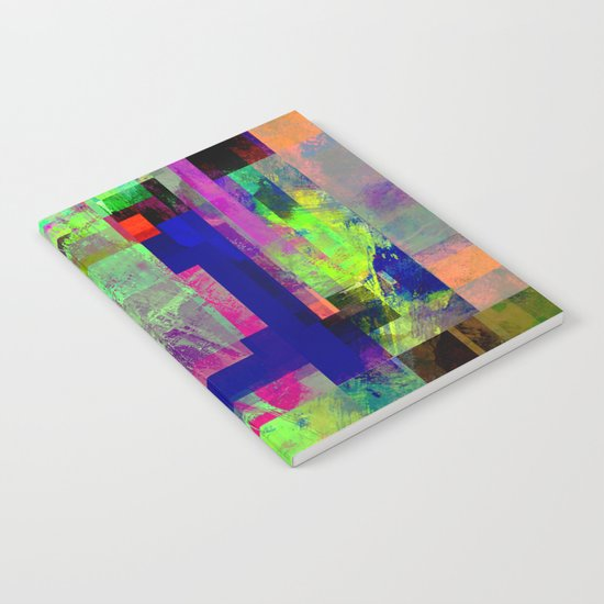 Pastel Geometry X - Abstract, goemetric, pastel coloured, textured artwork Notebook