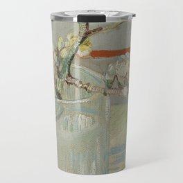 Sprig of Flowering Almond in a Glass Travel Mug