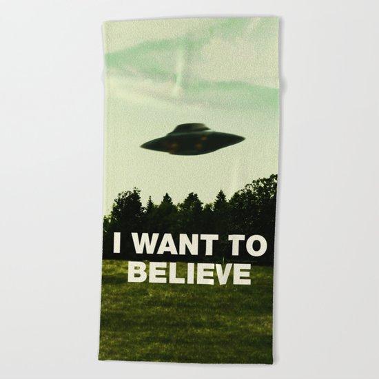 UFO, I Want To Believe Beach Towel