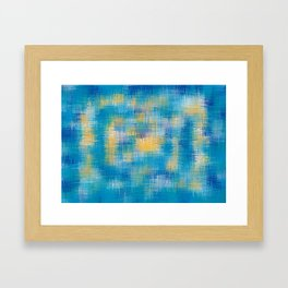 blue and yellow plaid pattern abstract Framed Art Print