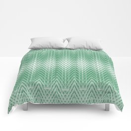 Cool Mint Green Frosted Geometric Design Comforters