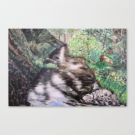 RIVER VIEW IN WONDERLAND - Original Fine art painting by HSIN LIN / HSIN LIN ART Canvas Print