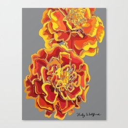 Marigold in Burnt Orange and Grey by Hxlxynxchxle Canvas Print