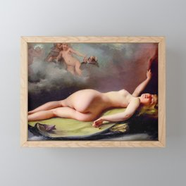 "Luis Ricardo Falero ""Reclining nude"" also known as ""The Opium Smoker"" Framed Mini Art Print"