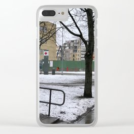 The world comes down @Malmö hospital Clear iPhone Case