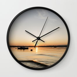 Evening at the lake Wall Clock
