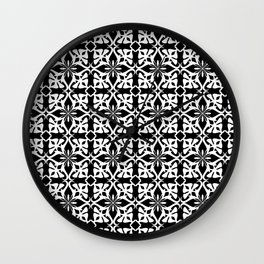 geometric pattern white on black Wall Clock