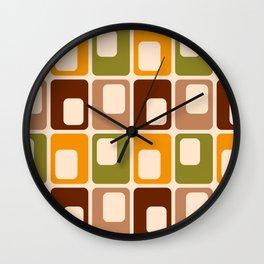 Retro 70s rounded capsules check orange brown geometrics Wall Clock