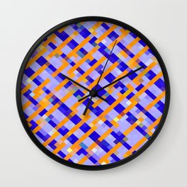geometric pixel square pattern abstract background in orange blue purple Wall Clock