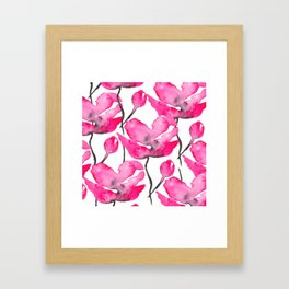 Modern neon pink floral watercolor black pattern Framed Art Print