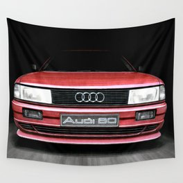 FRONT VIEW OF THE CAR IN RED IN A DEEP COMPOSITION Wall Tapestry
