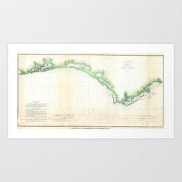 Vintage Florida Panhandle Coastal Map (1852) Art Print