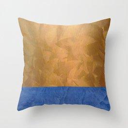 Copper Metallic With Tuscan Blue Stripe Trim Throw Pillow