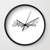 minneapolis Wall Clocks featuring Minneapolis by Blocks & Boroughs