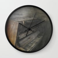 piano Wall Clocks featuring Piano by Claudia Ma