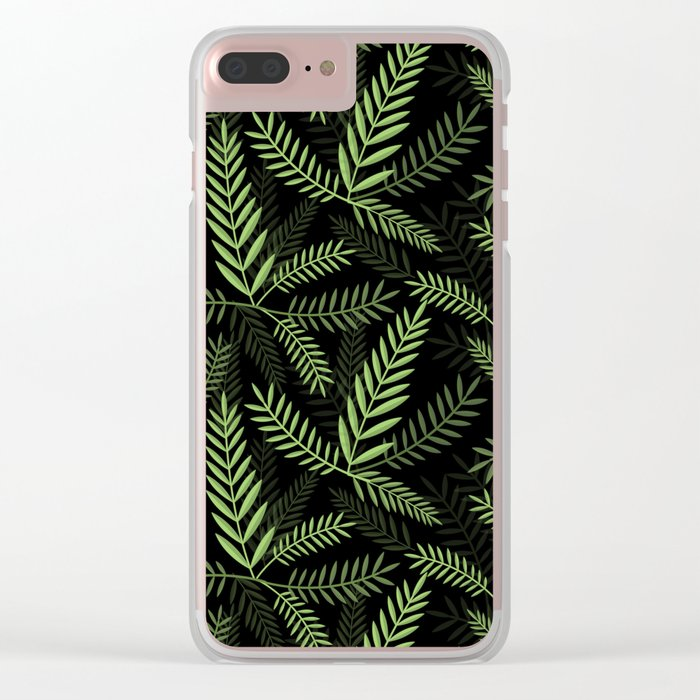 GREEN LEAVES ON BLACK Clear iPhone Case