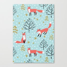 Red foxes in the blue winter forest with snow Canvas Print