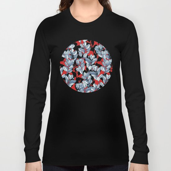 Leaf and Berry Sketch Pattern in Red and Blue Long Sleeve T-shirt