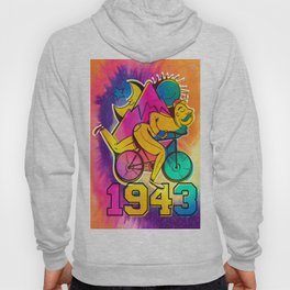 A reworked Bicycle acid 1943 on a tie dye background. Hoody