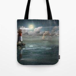 Lighthouse Under Back Light Tote Bag