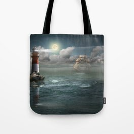 Lighthouse Under Back Light Tote Bag