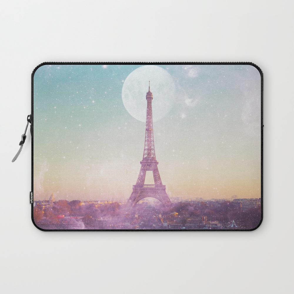 I Love Pink Paris Eiffel Tower - Full Moon Univers… Laptop Sleeve LSV6926601