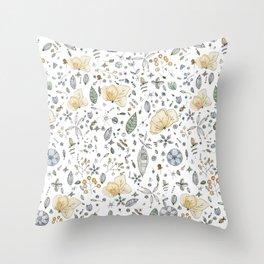 Flower Garden Watercolor Throw Pillow